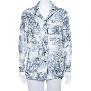 Christian Dior White Toile de Jouy Printed Silk Chez Moi Pajama Jacket M