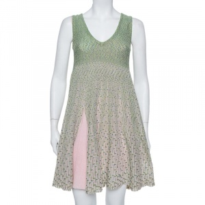 Dior Green & Pink Lurex Knit Flared Tent Dress S - used
