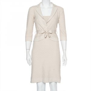 Christian Dior Beige Patterned Knit Sleeveless Midi Dress and Cardigan S - used