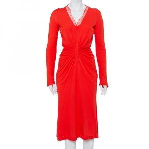 Christian Dior Red Knit Lace Trim Draped Detail Midi Dress L - used