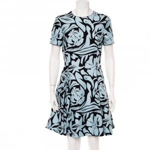 Christian Dior Blue & Black Printed Cotton Pleated Mini Dress L - used