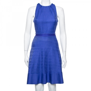 Christian Dior Blue Silk Knit Cross Back Detail Sleeveless Dress L - used