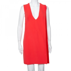 Christian Dior Red Crepe Plisse Detail Sleeveless Shift Dress M - used