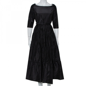 Christian Dior Black Silk Belted Tiered Maxi Dress L - used