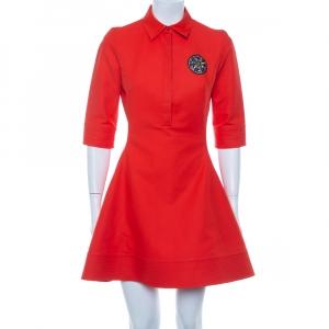 Christian Dior Orange Cotton Embellished Detail Collared Mini Dress M - used