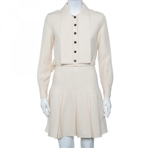 Christian Dior Cream Wool & Silk Collar Detail Pleated Belted Mini Dress S - used