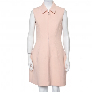 Christian Dior Pink Textured Wool Zip Front Sleeveless Mini Dress M - used