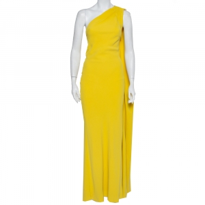 Christian Dior Yellow Crepe Trail Detail One Shoulder Maxi Dress S - used
