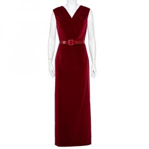 Christian Dior Burgundy Velvet Slit Detail Belted Maxi Dress M - used