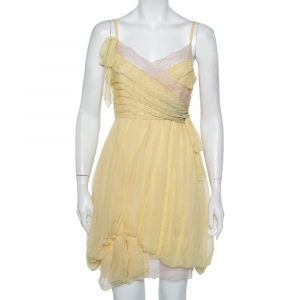 Christian Dior Yellow Embellished Silk Lace Detail Mini Dress S - used