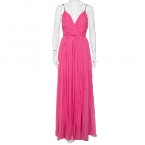 Christian Dior Pink Silk Chiffon Pleated Sleeveless Gown M - used