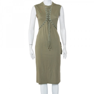 Christian Dior Green Cotton Knit Lace Up Detail Sleeveless Midi Dress L - used