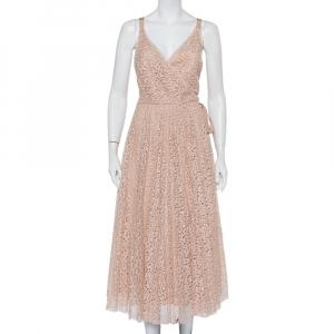 Christian Dior Light Pink Lace Sleeveless Midi Wrap Dress S - used