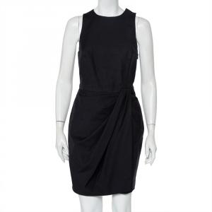 Christian Dior Black Cotton Draped Sleeveless Faux Wrap Mini Dress M - used