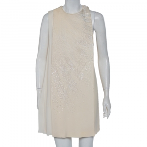 Christian Dior Cream Wool & Silk Sequin Embellished Cape Detail Shift Dress M - used