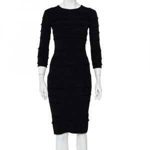 Christian Dior Black Knit Ruffle Detail Sheath Dress S - used