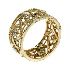 Dior My Dior Diamond 18k Yellow Gold Large Openwork Band Ring Size 53