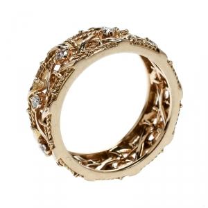 Dior My Dior Diamond 18k Rose Gold Openwork Band Ring Size 55