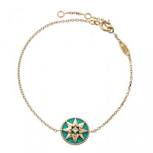 Dior Rose des Vents Diamond Turquoise 18k Yellow Gold Bracelet
