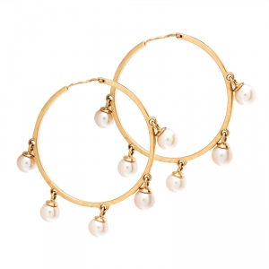 Dior Cultured Pearl 18k Rose Gold Hoop Earrings