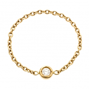 Dior Mimioui Diamond 18k Yellow Gold Chain Ring Size 54.5