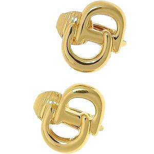 Dior Gold Tone CD Logo Clip On Stud Earrings