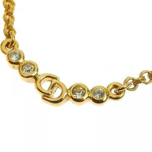 Dior Rhinestone Gold Tone CD Pendant Necklace