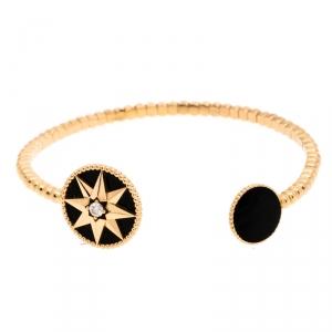Dior Rose Des Vents Diamond Onyx 18K Rose Gold Open Cuff Bracelet