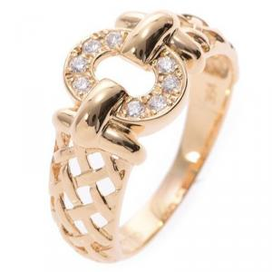 Dior 18K Yellow Gold and Diamond Ring Size 54