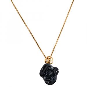 Dior Rose Pré Catelan Diamond Onyx 18K Yellow Gold Pendant Necklace