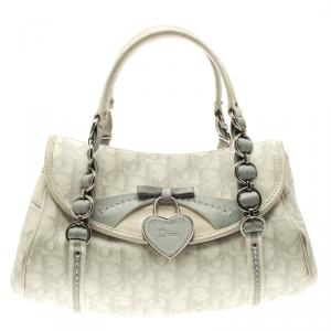 Dior Off White/Grey Monogram Coated Canvas Trotter Romantique Boston Bag