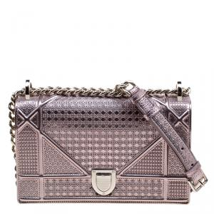 Dior Metallic Pink Leather Small Diorama Shoulder Bag