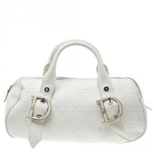 Dior White Cannage Leather Boston Bag