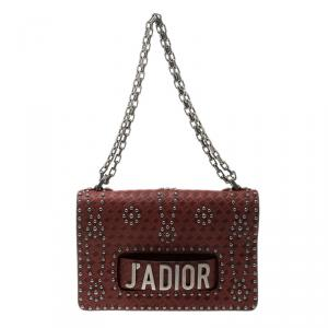 Dior Red Leather J'adior Studded Shoulder Bag