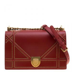 Dior Red Leather Medium Studded Diorama Shoulder Bag