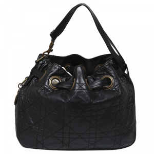 Dior Black Cannage Quilted Leather Drawstring Shoulder Bag