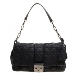 Dior Black Cannage Leather Medium Miss Dior Short Chain Flap Bag