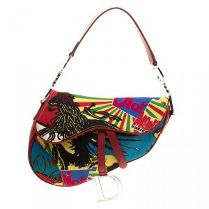 Dior Multicolor Fabric Bob Marley Saddle Bag