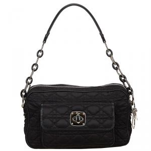 Dior Black Cannage Quilted Nylon Shoulder Bag