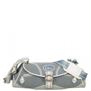 Dior Light Blue Canvas Vintage Shoulder Bag