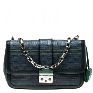Dior Blue/Green Raffia and Leather Miss Dior Medium Flap Bag