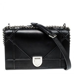 Dior Black Leather Medium Diorama Flap Shoulder Bag