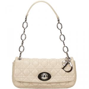 Dior Ivory Leather Cannage Chain Bag