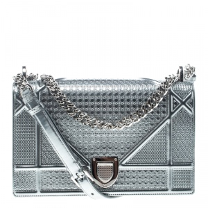 Dior Silver Leather Medium Diorama Flap Shoulder Bag