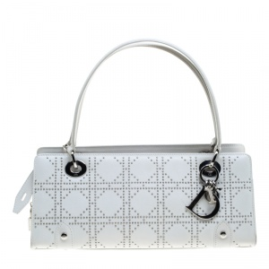Dior White Cannage Studded Leather Lady Dior East West Shoulder Bag