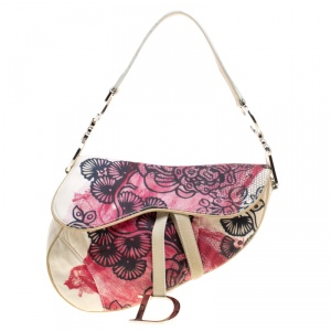 Dior Off White/Red Printed Fabric Limited Edition 071 Saddle Bag