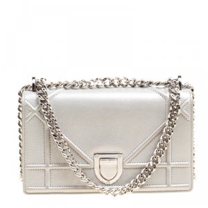 Dior Metallic Grey Leather Mini Diorama Shoulder Bag
