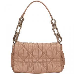 Dior Pink Cannage Quilted Leather Delices Flap Bag