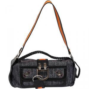 Dior Black/Navy Blue Denim Oblique Flight Shoulder Bag