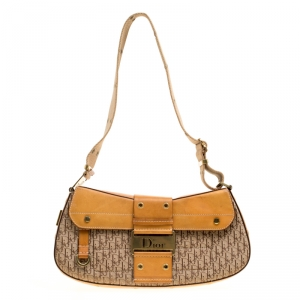 Dior Beige/Tan Diorissimo Fabric and Leather Street Chic Shoulder Bag